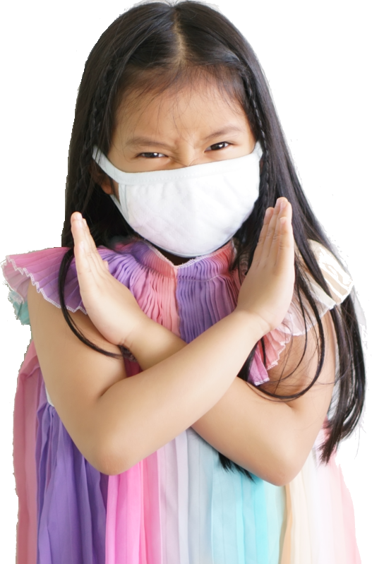 little girl says no to flu
